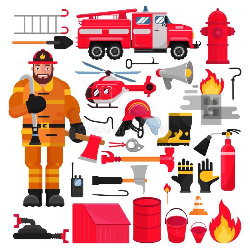 Feuerwehrmannvektorbrandbekämpfungsausrüstung firehose Hydrant- und Feuerlöscherillustrationsfeuerbekämpfungssatz von stock abbildung
