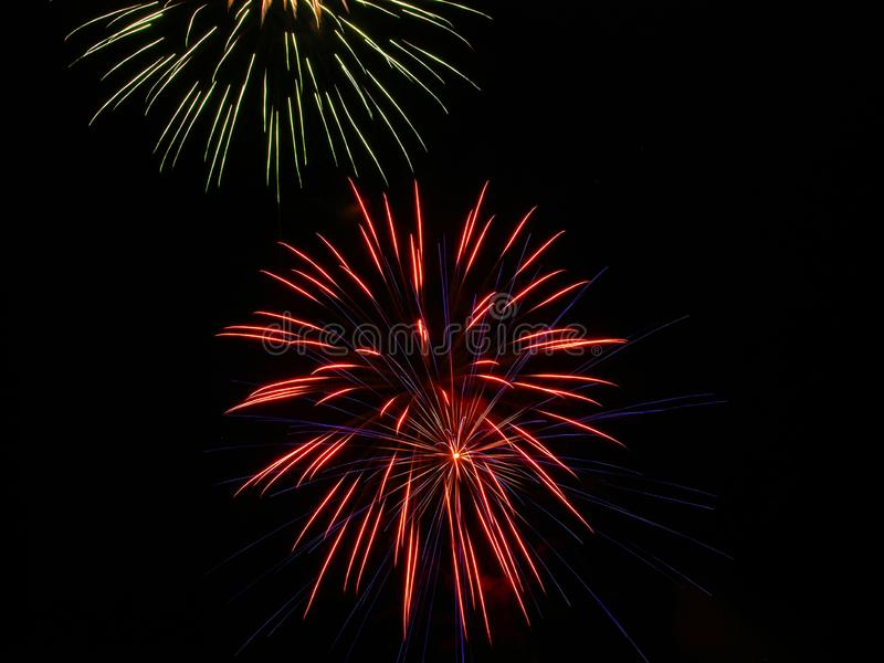Exploding fireworks in the night sky royalty free stock photos