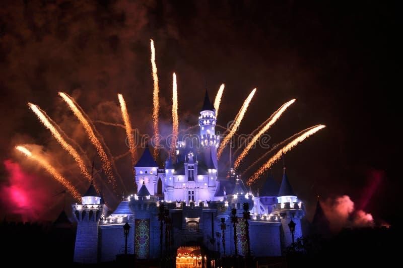 Feuerwerk bei Disneyland, Hong Kong stockfotografie