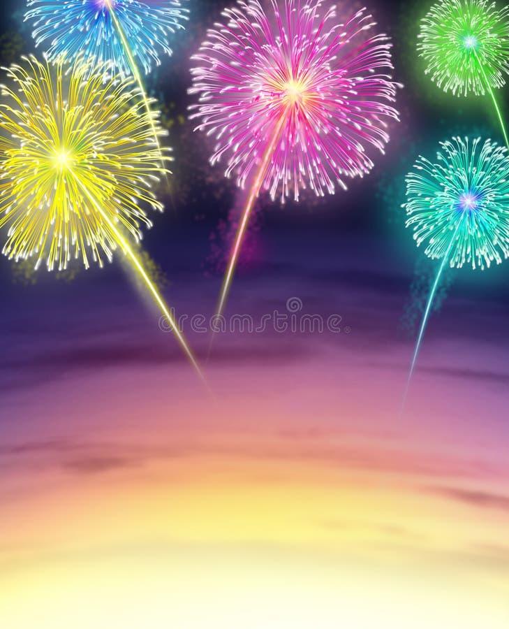 Feuerwerk-Bildschirmanzeige mit Sonnenunterganghimmel vektor abbildung