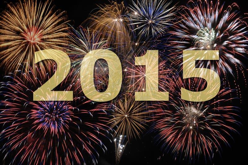Feuerwerk 2015 des neuen Jahres stockbilder