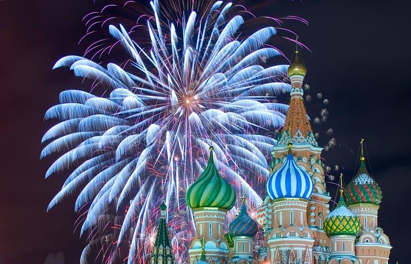 Feuerwerk des roten Quadrats stockbilder