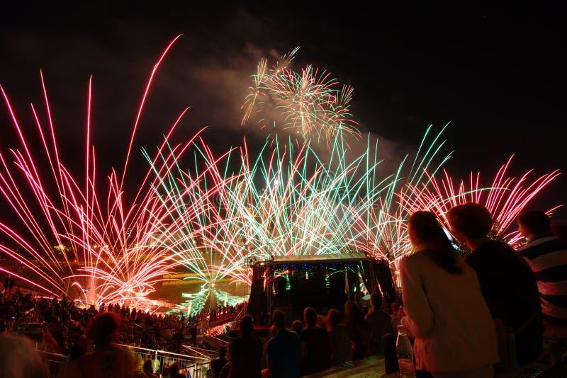 Feuerwerk am Festival verliehen in Maribor lizenzfreies stockfoto