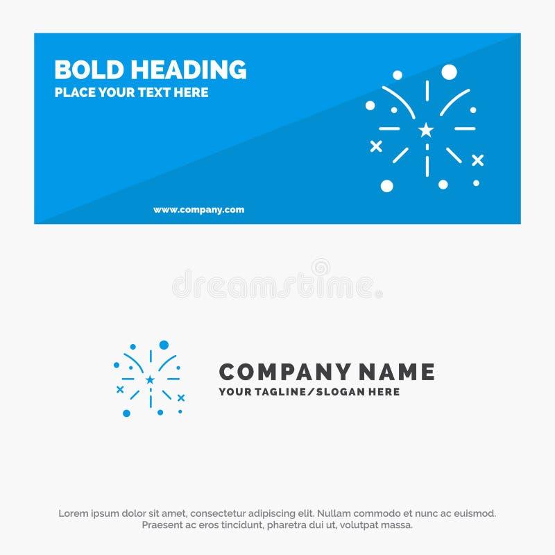 Feuerwerk, Feuer, Amerikaner, Ikonen-Website-Fahne und Geschäft Logo Template USA feste lizenzfreie abbildung