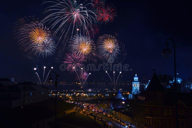 Feuerwerk in Kasan, Russland lizenzfreie stockfotografie