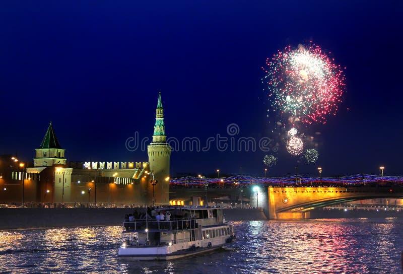 Feuerwerk in Moskau, Russland stockfoto