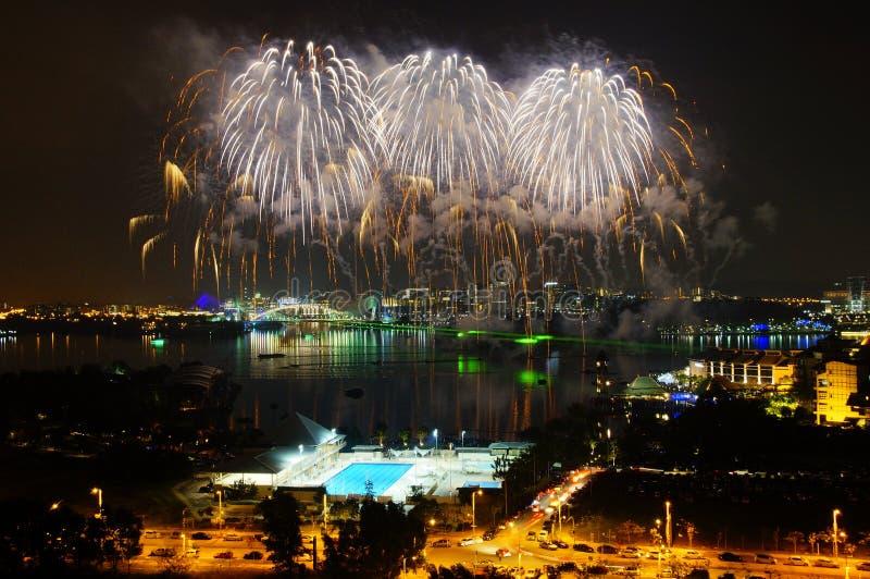 Feuerwerk in Putrajaya stockbild