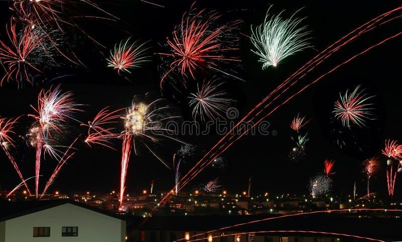 Feuerwerk in Reykjavik lizenzfreies stockfoto