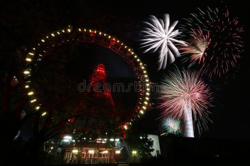 Feuerwerk in Wien Prater lizenzfreie stockfotos
