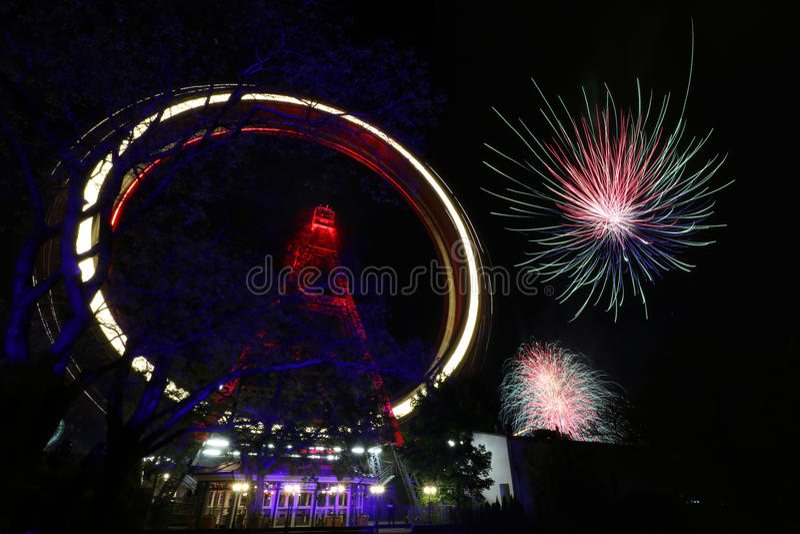 Feuerwerk in Wien Prater stockbild