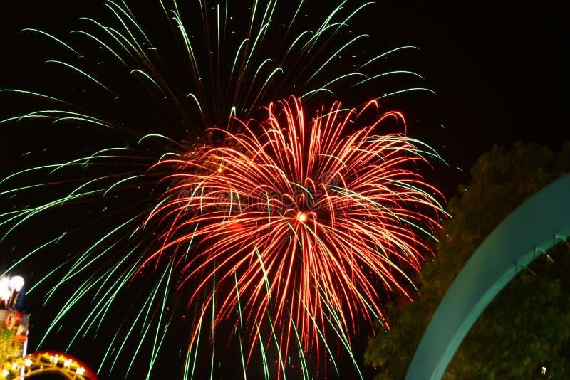 Feuerwerk in Wien Prater lizenzfreie stockfotografie