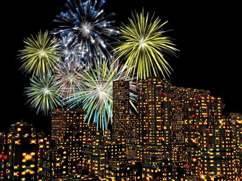 Feuerwerke über der Stadt, neue Jahre lizenzfreie abbildung