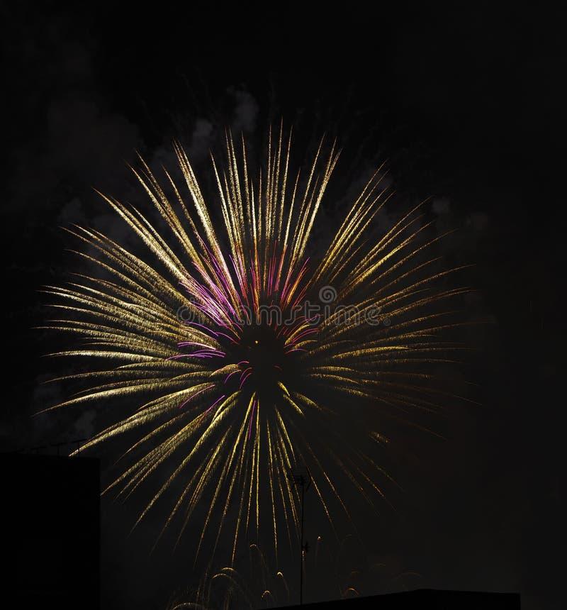 Feuerwerke über Gebäuden lizenzfreie stockfotos