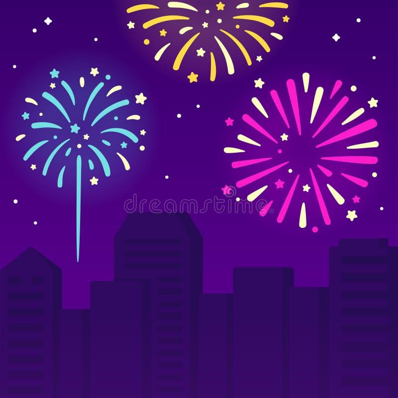 Feuerwerke über Stadt vektor abbildung
