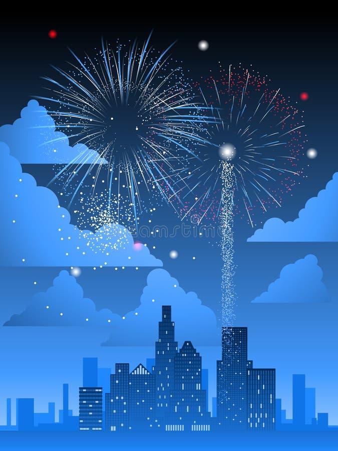 Feuerwerke über Stadt stock abbildung