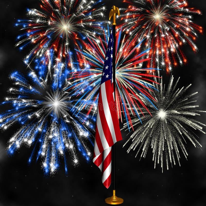 Feuerwerke über US-Markierungsfahne stockfotos