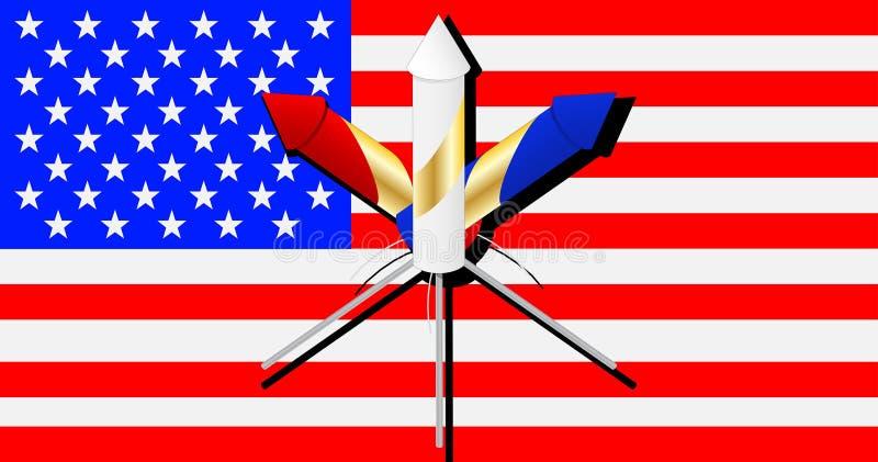 Feuerwerke auf amerikanischer Flagge vektor abbildung