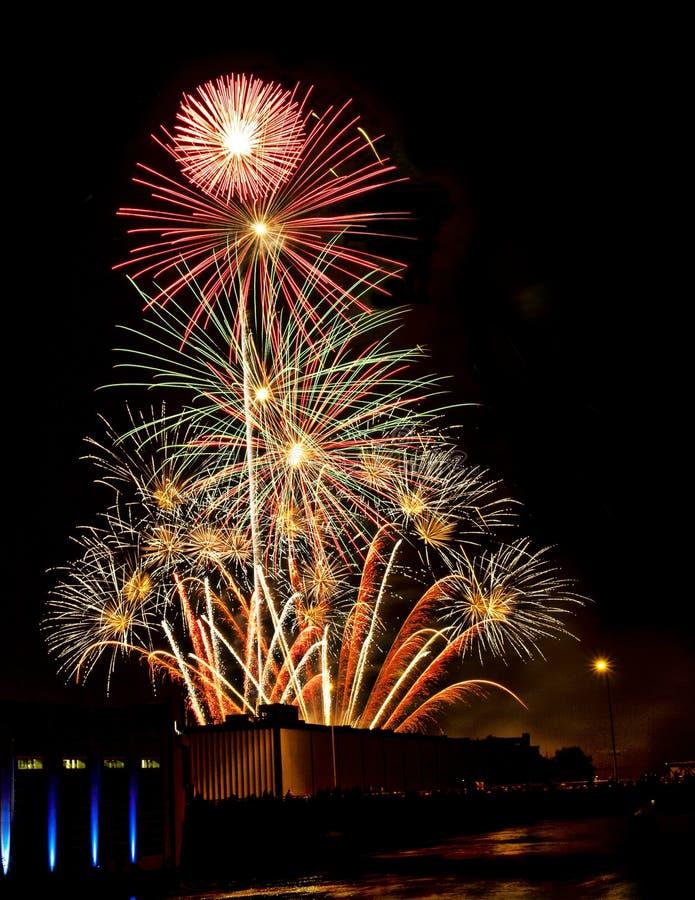 Feuerwerke auf dem Viertel lizenzfreies stockfoto