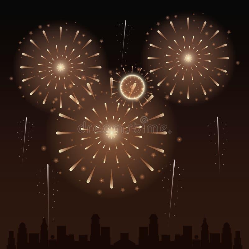 Feuerwerke auf der Stadt lizenzfreie abbildung