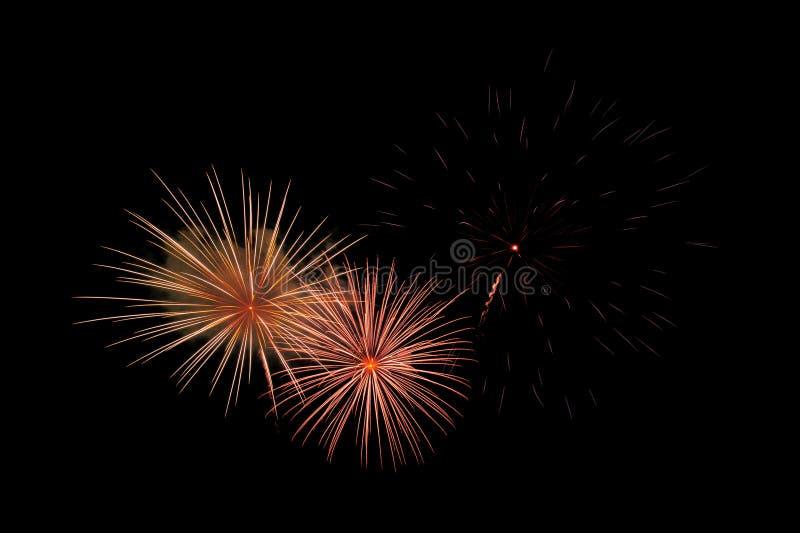 Feuerwerke auf einem schwarzen Hintergrund mit Raum lizenzfreies stockbild