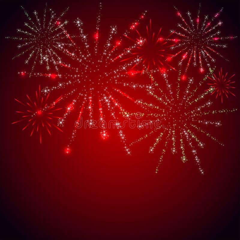 Feuerwerke auf rotem Hintergrund stock abbildung