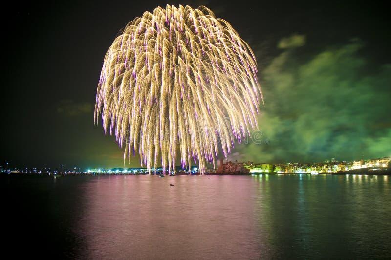 Feuerwerke bei Sitges stockfoto