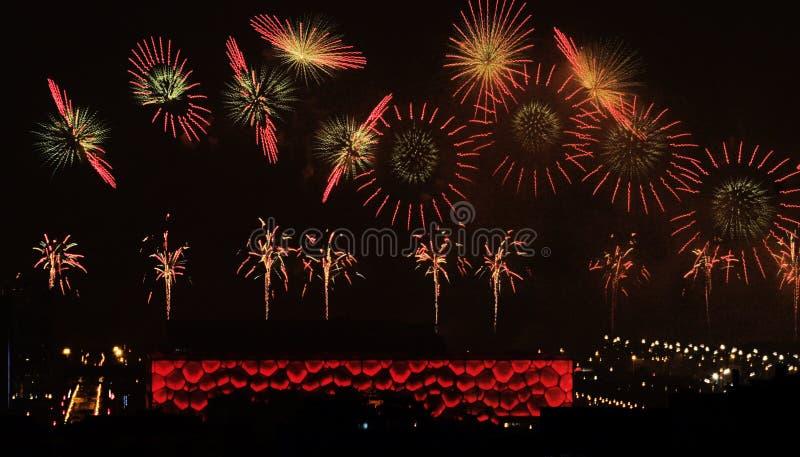 Feuerwerke in Beijing2008 öffnen Zeremonie lizenzfreies stockbild