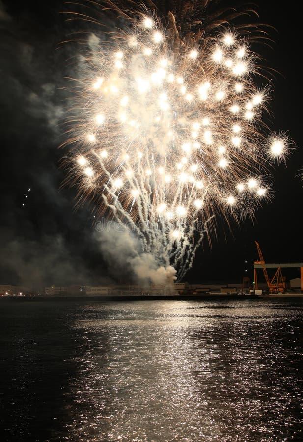 Feuerwerke denken über Meerwasser nach stockbild