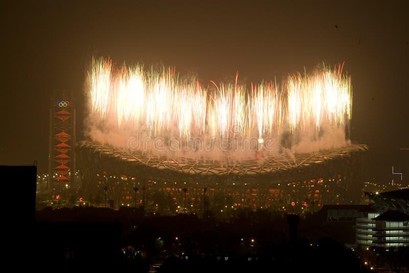 Feuerwerke der schließenden Zeremonie stockfotos