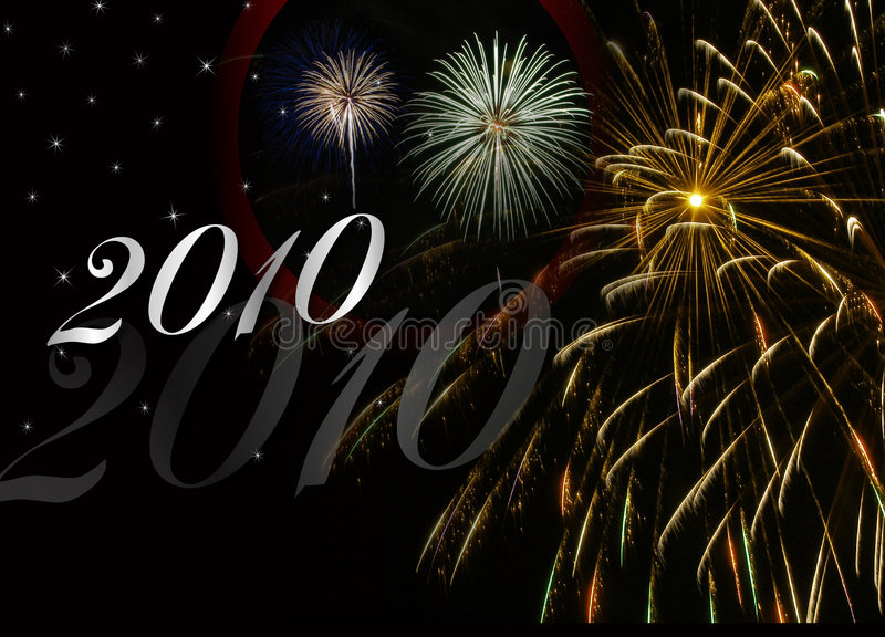 Feuerwerke des neuen Jahr-2010 stockfotografie