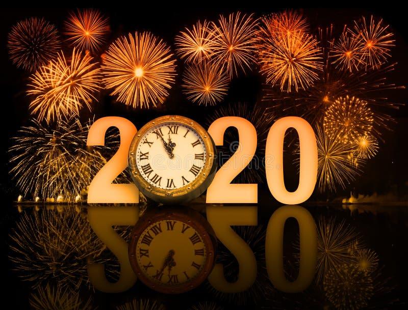 Feuerwerke des neuen Jahres 2020 mit Ziffernblatt lizenzfreies stockbild