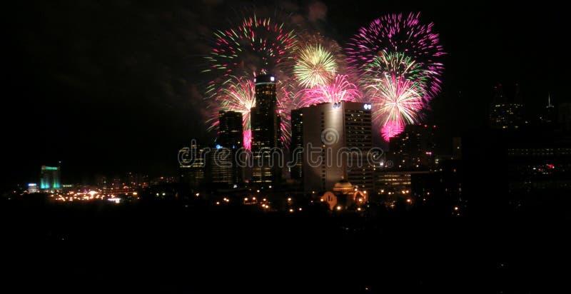 Feuerwerke Detroit lizenzfreie stockbilder