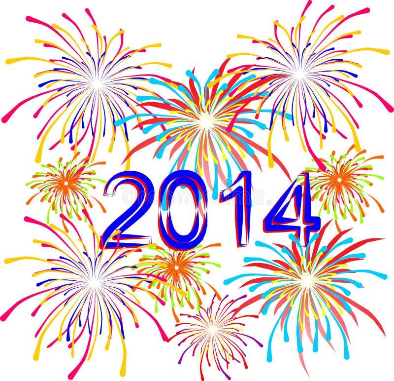Feuerwerke für den Feiertag auf neuen 2014 lizenzfreie abbildung