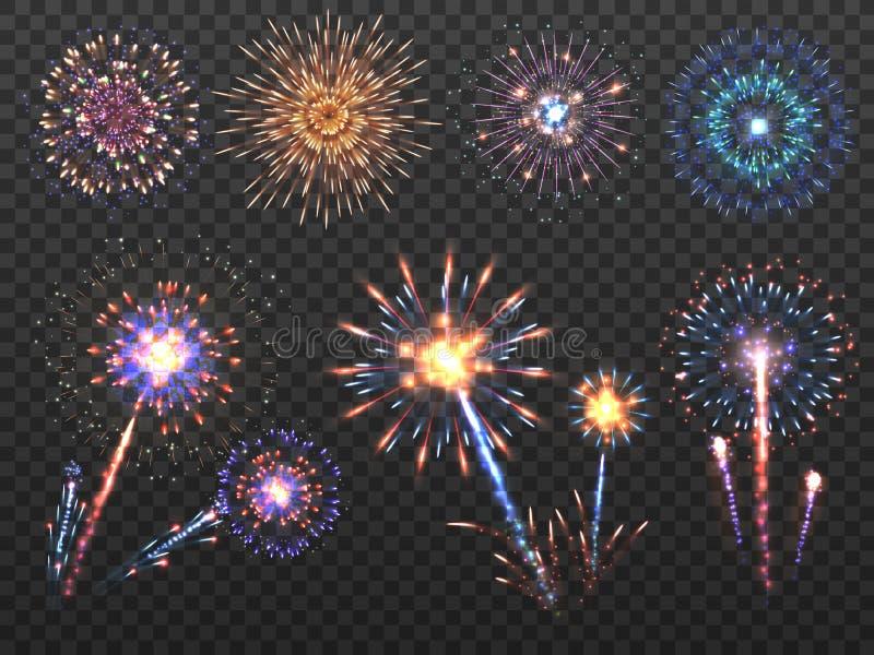 Feuerwerke Feiertagsfeuerwerksexplosion in der Nacht, Kracher funkt Guten Rutsch ins Neue Jahr-Vektor-Dekorationssatz lokalisiert lizenzfreie abbildung