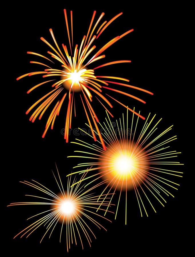 Feuerwerke im nächtlichen Himmel stock abbildung