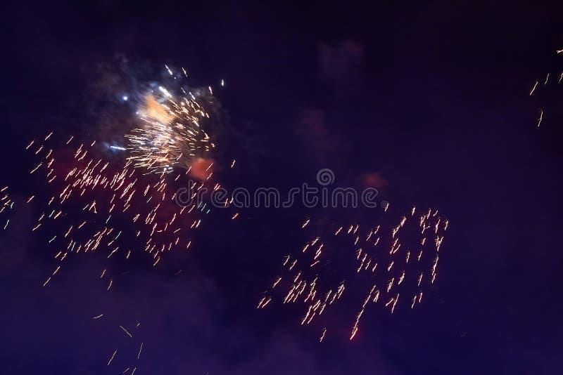 Feuerwerke im nächtlichen Himmel Beschaffenheitsgruß Abstraktes Foto von Florida lizenzfreie stockfotografie
