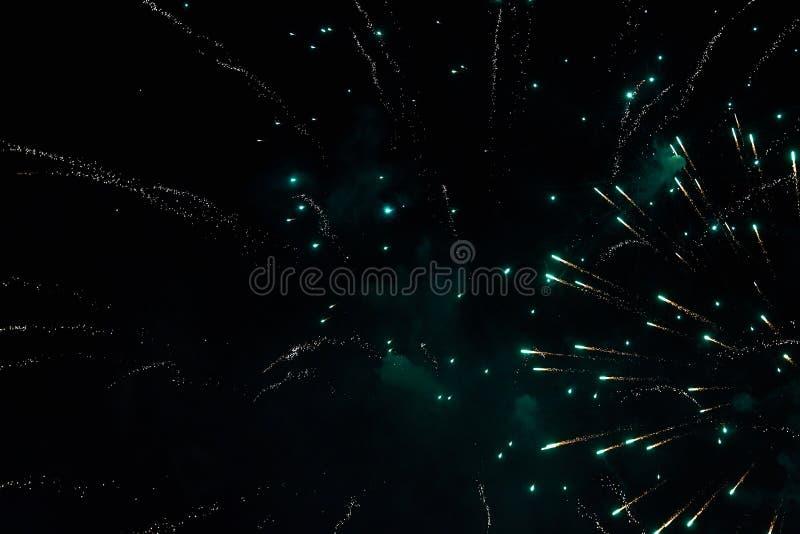 Feuerwerke im nächtlichen Himmel Beschaffenheitsgruß Abstraktes Foto von Florida lizenzfreies stockbild