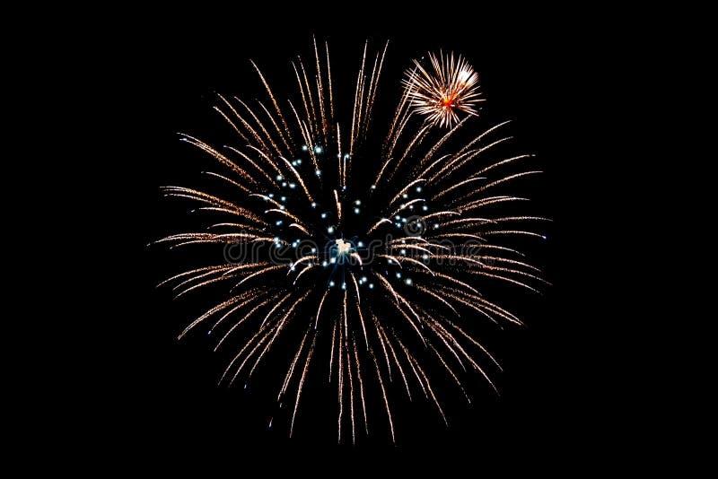 Feuerwerke lokalisiert auf schwarzem Hintergrund für herausgeschnitten lizenzfreie stockbilder