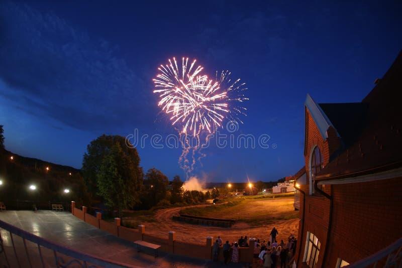 Feuerwerke nachts Hochzeit stockfoto