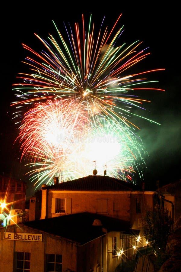 Feuerwerke in Provence Frankreich stockfotografie