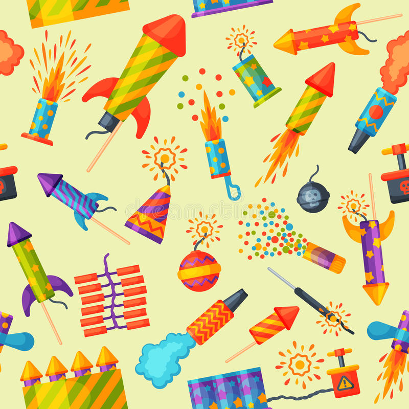 Feuerwerke schnellen hoch und Prallplattengeburtstagsfeiergeschenk feiern nahtloses Mustervektorillustrations-Hintergrundfestival lizenzfreie abbildung