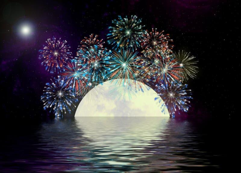 Feuerwerke u. Wasserreflexionen   lizenzfreie stockfotos
