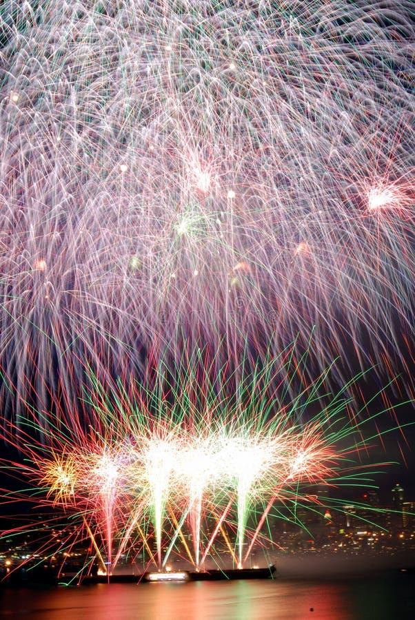 Feuerwerke umfaßten Feld lizenzfreies stockfoto