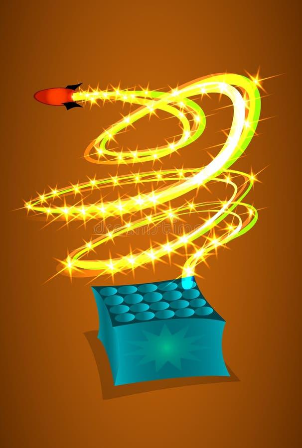 Feuerwerke und Feuerwerke lizenzfreie abbildung