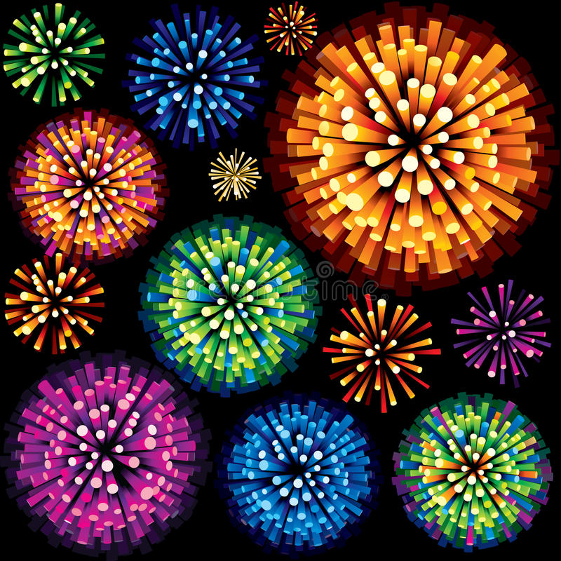 Feuerwerke und Gestaltungselement der Explosions-3D stock abbildung