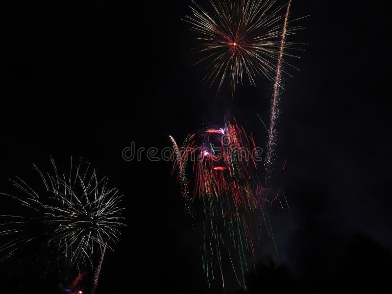 Feuerwerke von verschiedenen Arten stockbild