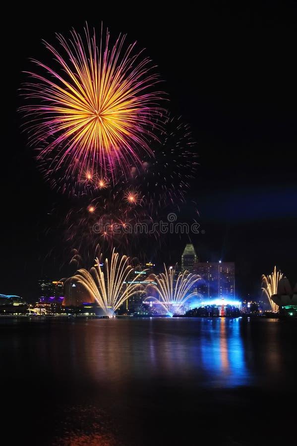 Feuerwerke während Jugend-Olympische SpieleClosing 2010 stockbilder