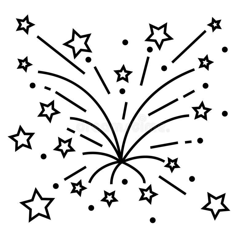 Feuerwerke zeichnen Ikone, Entwurfsvektorzeichen, das lineare Piktogramm, das auf Wei? lokalisiert wird Logoillustration lizenzfreie abbildung