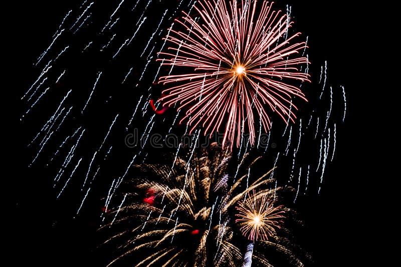 Feuerwerks-Anzeige am 4. Juli lizenzfreie stockfotos
