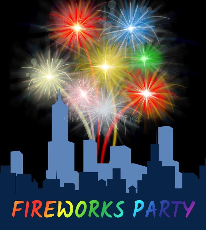 Feuerwerks-Partei zeigt explodierende Pyrotechnik in der Stadt stock abbildung